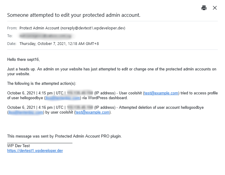 Example of email sent